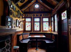 Our backyard Irish Pub. Done just in time for St. Irish Pub Interior, Irish Pub Decor, Man Cave Pub, Men Cave, Garden Bar Shed, Bar Pub, Irish Bar, Pub Sheds, Home Pub