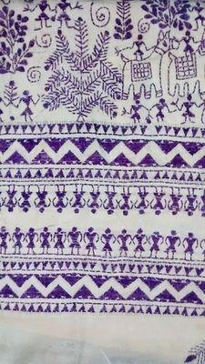 White Art Silk saree with folk motif purple kantha stitch