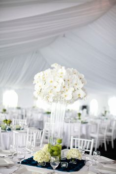 White Orchid and Lime Centerpiece Vase | photography by http://michelemwaite.com/
