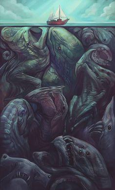 Is Cthulhu in there somewhere? Arte Horror, Horror Art, Fantasy Kunst, Fantasy Art, Illustrations, Illustration Art, Art Sinistre, Creepy Art, Creepy Pics