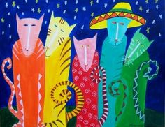 FIESTA CATS colorful acrylic cat painting original art teamwwes MMA. $150.00, via Etsy.