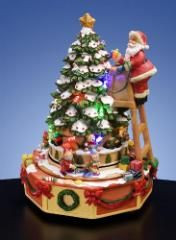 Santa Decorating Tree Figurine  Music Box  #44420--SORRY SOLD OUT - NO LONGER AVAILABLE
