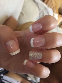 Gel French manicure with a silver glittery accent nail. fall nail colors gel polish nail design