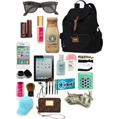 """Untitled #148"" by cseelhorst on Polyvore. Extra stuff to carry around in your backpack"