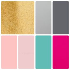 Colour palette, blush pink, hot pink, teal, gold, light and dark grey.