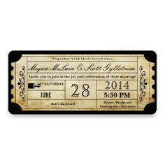 Vintage Wedding Ticket Invitations