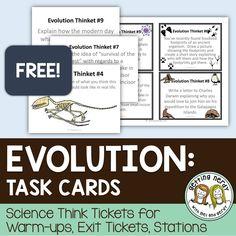 FREE - Evolution task cards for science