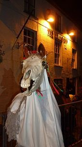 At the Chepstow Mari Lwyd, 2014. Perhaps deriving from an ancient rite for the Celtic goddess Rhiannon, or an ancient kingship ritual, the Mari Lwyd was once widespread throughout Wales,but is now associated with the south and south-east of the country, in particular Glamorgan and Gwent