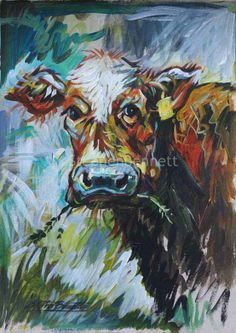 "Painting of a cow by Stephen Bennett. Title - ""Ethel"", acrylic on paper Art Gallery, Art Prints, Figures, Art Painting, Figure Painting, Painting, Art, Irish Art"