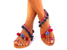 LEATHER Sandals Pom Pom sandals Colorful  Sandals boho by DelosArt