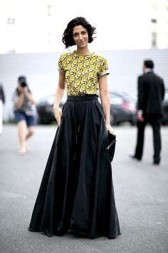 Invest in volume! An amazing maxi skirt can be an excellent base for a parade of punchy, statement-making tops.