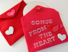 """Handmade felt CD case to use for a Valentine's Day Card or Favor. Burn a CD of favorite songs - """"Songs from the Heart"""""""