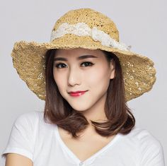 Handmade crochet straw sun hat for women with lace bow