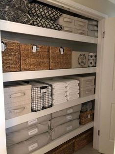 Leanne Marie the linen cupboard Woven storage basket from Kmart Linen cloth storage baskets with lid from TK Maxx Black wire basket from Spotlight Grey storage bags from Adairs Woven baskets with lid from Target Closet Storage Bins, Storage Baskets With Lids, Bedroom Closet Storage, Linen Closet Organization, Home Organisation, Linen Storage, Cupboard Storage, Storage Ideas, Organization Ideas