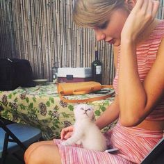 Taylor Swift and her kitten, Olivia Benson. My dog, Elliot Stabler, can't wait to start solving cases...