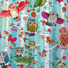 The Fat Finch Boutique for Bird Lovers   Owls in Trees Gift Wrapping Paper