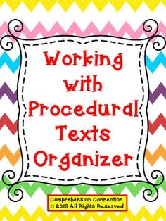 Help your students understand the purpose of procedural texts and how they're organized.