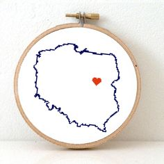 Poland Map Hand Embroidery pattern. Cross Stitch Pattern from Poland Poster. Polish art. Warsaw. Poland Souvenir. Wedding gift. Polska mapa. Instant download now available for 4,95 at www.studio-koekoek.com