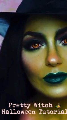 Just in time for fast approaching Halloween. Would be suitable to try for those more experienced makeup artists. Great green palette used makeup videos Pretty Witch Halloween Tutorial Halloween Makeup Witch, Halloween Makeup Looks, Halloween Fun, Halloween Makeup Tutorials, Wicked Witch Costume, Witch Cosplay, Halloween Costumes, Devil Costume, Ghost Costumes