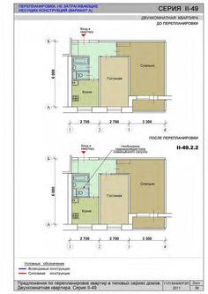 Предложения по перепланировке квартир в типовых сериях домов. Двухкомнатная квартира. Серия II-49