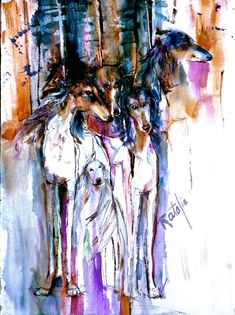 Saluki Gang Watercolor dog Print SIGNED by the Artist Caarol Ratafia DOUBLE MATTED to 16x220
