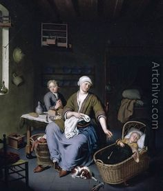 Interior with a Mother Attending her Children 1728 - Willem van Mieris