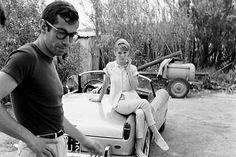 #RogerVadim and his #Ferrari 250 GT California in #SaintTropez in 1961 before collection #Baillon