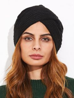 e1559bb60e2 Black Ribbed Knit Turban Hat Turban Hat
