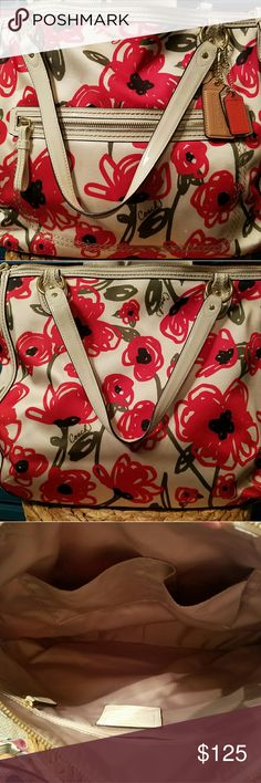Coach poppy collection tote Can fit a MacBook Pro 13inch comfortably. Coach Bags Totes