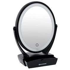 SONGMICS LED Lighted Desktop Makeup Mirror 1x/5x Two-Side Swivel Magnifying Cosmetic Mirror w/ Drawer UBBM01B - http://centophobe.com/songmics-led-lighted-desktop-makeup-mirror-1x5x-two-side-swivel-magnifying-cosmetic-mirror-w-drawer-ubbm01b/ -