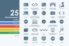 25 programming icons by Palau on Creative Market