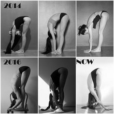 Working on #standingforwardbend or #uttanasana This pose is, as you can see, a #workinprogress (like many other poses in my gallery). ▫ First 3 photos are taken in 2014; during that period I wasn't that familiar to yoga; I 'practiced' maybe once a week. As you can see, I was making the most common mistake - I just wanted for my head to touch my legs, even though it has nothing to do with the correct alignment of this pose. As a result I was rounding my spine and lower back, and my hips…