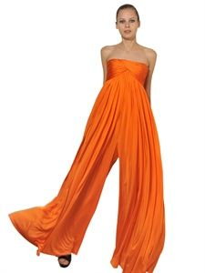 ALEXANDER MCQUEEN - DRAPED VISCOSE JERSEY JUMPSUIT - LUISAVIAROMA - LUXURY SHOPPING WORLDWIDE SHIPPING - FLORENCE