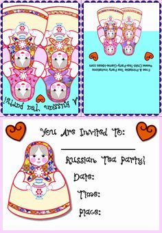 Free & Printable Tea Party Invitations - Russian Party Invitation 3a