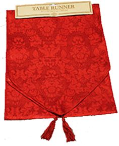 Holiday Haunted House Decor - 6ft GOTHIC VAMPIRE BLOOD RED BROCADE TABLE RUNNER - Window Valance Door Swag Mantel Edge Dresser Scarf Christmas Halloween Party Decoration Haunted House Mansion Castle Entry Dining Room Décor - http://www.horror-hall.com/Gothic-RED-TABLE-RUNNER-SWAG-DRESSER-SCARF-Holiday-Decoration-HH-DT-955367-1207.htm