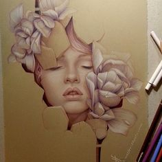#floral #flowers #girl colored pencil sketch #drawing, Jennifer Healy Art