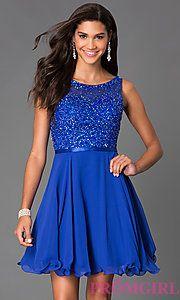 Buy Short Sleeveless Sequin Embellished Dress 6163 at PromGirl