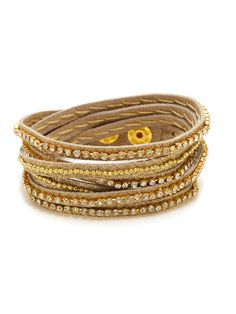 Presh Rhinestone & Leather Wrap Bracelet