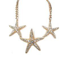 Women Fashion Summer Spring Gold Ocean Inspired Nautical Theme Triple Star Fish Crystals Statement Necklace Set, http://www.amazon.com/dp/B00CZ2KCCC/ref=cm_sw_r_pi_awdm_vtC8sb1WY55M4