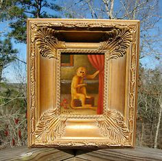 "british colonial style pictures | antique-style-oil-painting-ornate-wood-frame-monkey-british-colonial ."" the phrame!!"".."