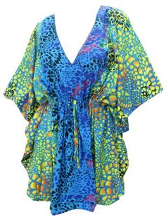 La Leela Animal Printed Lace Worked Plus Size Swim Beach Cover up Caftan