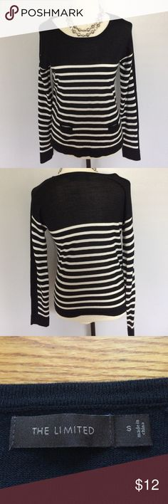 The Limited Black White Striped Long Sleeve Shirt Size small. It is in excellent condition with no flaws. It is a very thin sweater and is 50% Merino Wool and 50% acrylic. Necklace not included. The Limited Sweaters Crew & Scoop Necks