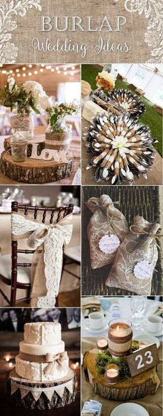 country rustic lace and burlap wedding ideas: