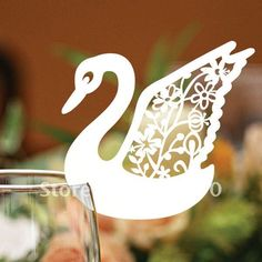 EC1108-26 12pcs/pack Laser Cutting Swan Glass place Card(color and pattern can be customized)