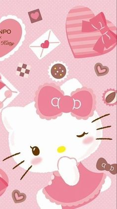 Image in Hello Kitty collection by May May on We Heart It Walpaper Hello Kitty, Hello Kitty Iphone Wallpaper, Wallpaper Iphone Love, Hello Kitty Backgrounds, Hello Kitty My Melody, Pink Hello Kitty, Sanrio Wallpaper, Hello Kitty Pictures, Hello Kitty Birthday