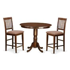 East West Furniture TRVN3-MAH-C 3 Piece Counter Height Pub Table and 2 Bar Stools Set