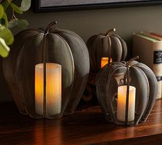 Mesh Pumpkin Candle Cages #potterybarn