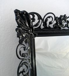 Ornate Black Mirror in Vintage Brass by SecretWindowMirrors, $39.00  But painted white if possible.