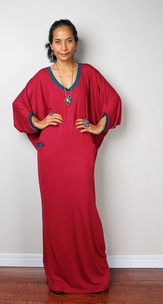 Red and Turquoise Dress -  Loose Fit 3/4 Sleeve wine red dress : Autumn Thrills Collection No.14  (New Arrival)