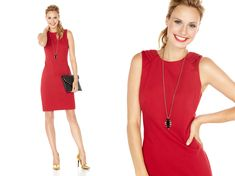 A red dress is a head turner no matter what, so keep the shape simple & use your accessories to add touches of unexpected contrast. Instead of a baubley statement necklace, wear something modern & edgy (think: spikes & dark gems).